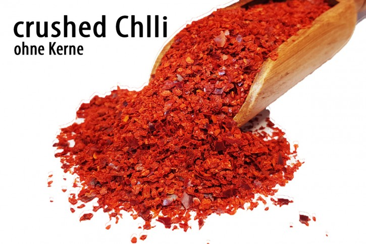 Chili ohne Kerne, geschroten